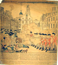 Engraving depicting the British soldiers opening fire on the colonists